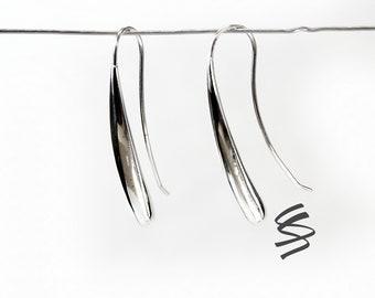 Simple Silver Earring, Geometric Earring, Sterling Silver Earring, Silver Spiral Earring, Dangle Earring, Hanging Earring, Pretty Earring