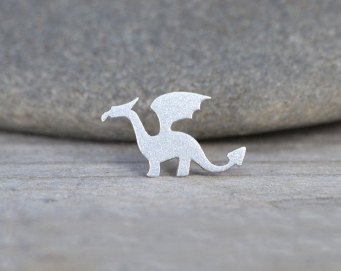 Dragon Pin/ Lapel Pin/ Tie Tack In Sterling Silver, Handmade In England