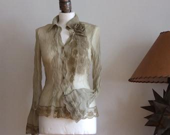 Blouse delicate  chiffon, boho shirt olive green, pleated front, long sleeves, lace border, summer fashion light blouse, urban romantic