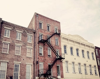 new orleans photography, architecture, new orleans art, building photography, french quarter art, decatur street, fire escape