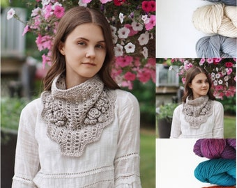Rose Lace Cowl Scarf available in various colours, ivory, light gray, dark gray, purple, orange, Blue, cowl scarf, Woman's scarf, rose scarf