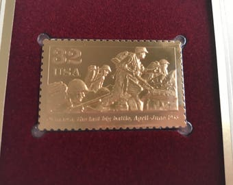 First Day Of Issue 22k Gold Replica Stamp - World War II Battle for Okinawa