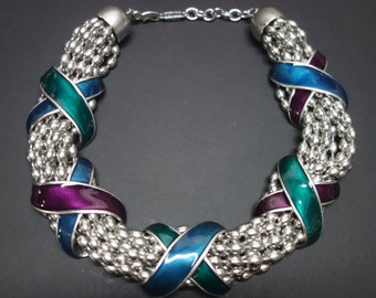 YSL Yves Saint Laurent Vintage Choker Necklace with Enamel Xes.