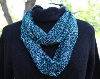 Lovely Infinity Scarf in teal,green and black