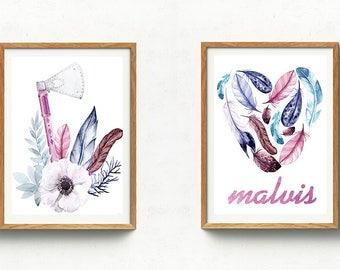 Boho Nursery Prints,Boho Nursery Wall Art,Personalized Girl decor,Custom Baby Name Wall Art,Boho Nursery Art,Feathers