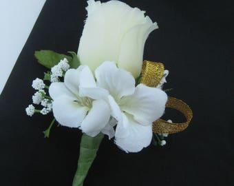 Metallic Gold White Cream Silk Flower Wedding Prom Boutonniere Groom Groomsmen