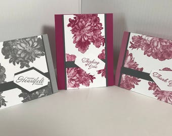 "Handmade ""Heartfelt"" Set of 3 Cards"