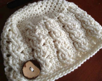 PDF Crochet Pattern - Cable Beanie Hat - 6 sizes - Newborn to Adult