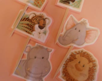 Jungle Babies Cupcake Toppers- Pink