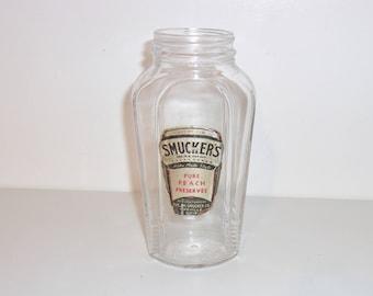 1930's Art Deco Smuckers Pure Peach Preserves Jar