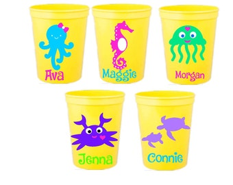 Children's Party Favors, birthdays, Sea Creatures, Mix and Match, Set of 5, Custom colors and designs