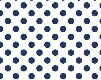 "NAVY Medium Dots ~ 3/4"" Diameter Dots ~ 100% Cotton Fabric ~ 1/2 yard ~ 18"" x 43"" ~ from Riley Blake ~ C490-21"