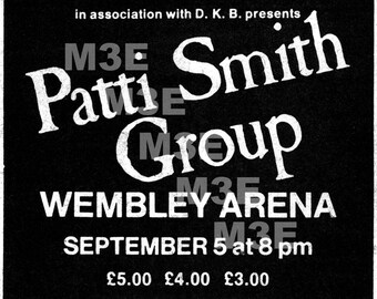 Patti Smith Group Wembley Arena '79 Melody Maker Concert Ad Reprint  Digital Download