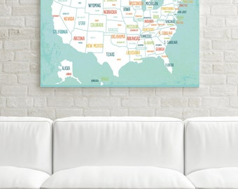 Great USA Map, Canvas Art, Travel Map, Travel Art Decor, Gender Neutral,