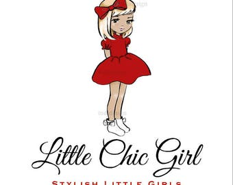 Little Chic Girl Boutique- Girls Couture -  Character Illustrated Predesigned Logo design