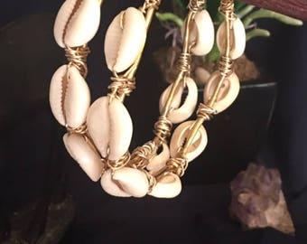 Divina Cowrie Shell Goddess Hoops