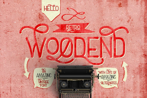 Digital Font Woodend - Digital Typeface - Retro font - Instant Download - with swashes and alternates