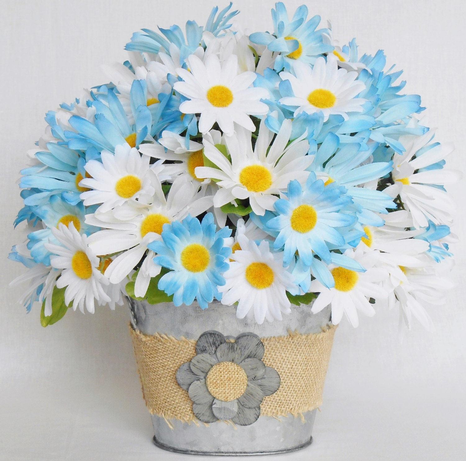 Silk flower arrangement blue daisies white daisies metal zoom izmirmasajfo