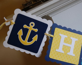 Nautical Happy Birthday Banner, Whales Sails Anchors, Sailboat Birthday, Nautical Birthday, Navy, Aqua, Yellow