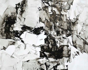 Original Fine Art Drawing, Large Black and White Art, 40x40 inches, Abstract Contemporary Ink Art Drawing