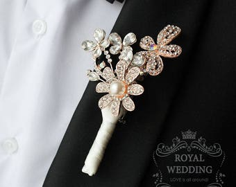Wedding Boutonniere Grooms Boutonniere Ivory Boutonniere Gold Boutonniere Jewelry Boutonniere Wedding Package Gold Wedding Pin Grooms Pin