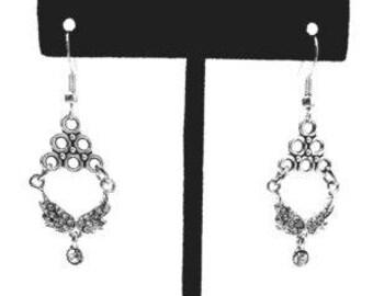 Feminine Rhinestone Dual Angel Wing Earrings