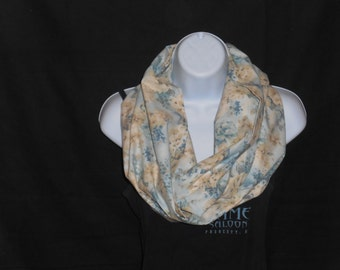 Light Blue with Floral Print Infinity Scarf