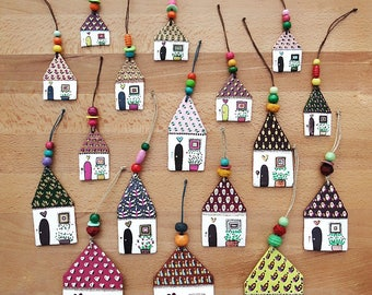 Little Papier Mache Houses, Paper Houses, Little Houses, Tiny House Dangles with string and beads.