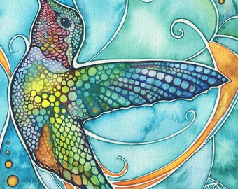 Hummingbird 5 x 7 print of watercolour artwork in vibrant turquoise, rich gold, and beautiful earth tones, anna's hummer bird watercolor art
