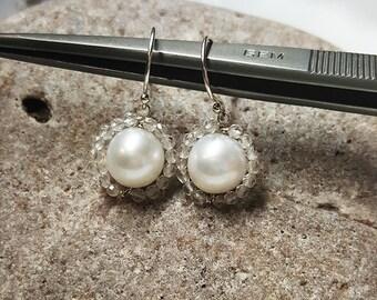 White Pearl Dangles, Pearl Genuine Crystal Quartz Earrings, Holiday White Pearl  Silver Earrings,Natural Sophisticated Pearl Earrings