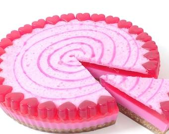 Raspberry soap cake slice