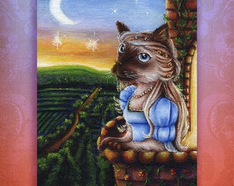 Juliet Capulet Shakespeare Literary Siamese Cat 5x7 Fine Art Print