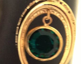 Designer Handmade Emerald Green Swarovski Channel Earrings , 18k Gp