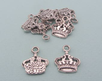 Set of 10 crown charms - Antique silver metal - Princess & queen