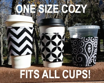 Coffee cozy / cup sleeve / coffee sleeve / resuable coffee cup holder / teacher gift / Black + White + Whatever You Like!