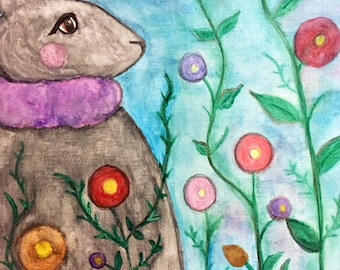 Spring Bunny - Watercolor Bunny - Watercolor Original - Spring Decor