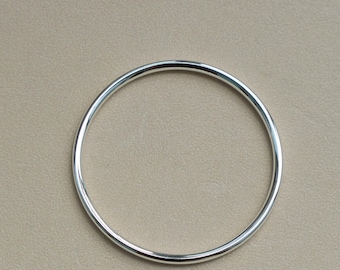 925 Sterling Silver,Hollow Tube Bangle,Silver Bracelets,Polished,Hand Made