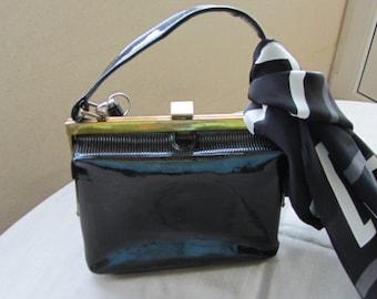 Black vintage USSR clutch bag, Black evening clutch, Bridal clutch, Black clutch purse, Black lace purse.