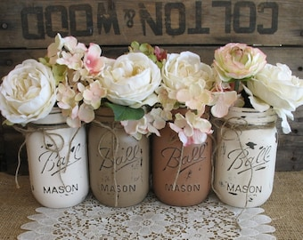 Set of 4 pint Mason Jars, Ball Jars, Painted Mason Jars, Flower Vases, Rustic Wedding Centerpieces, Cream Tan And Brown Mason Jars
