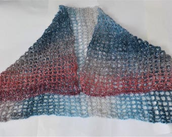 Openwork crochet evening wrap in metallic blue, silver and rose