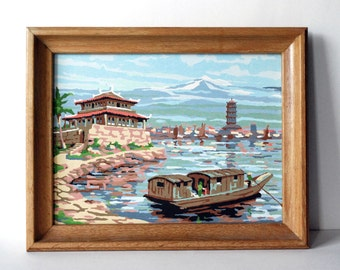 Paint by Numbers, PBN Kitsch Painting, Mid Century Decor, Blue Wall Hanging, Nautical Art, Boat Asian Temple, Blue Water, Oak Wood Frame