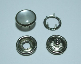 12mm Pearl Prong Snap Fasteners - Pack of 20 sets