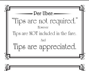 Uber Tips Not Included Thank You Sign for Print Digital Download