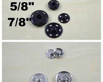"""Snap Buttons 1 Dozen Sets of Metal 5/8"""" or 7/8""""  Sew on Snap Buttons Available in Black and Nickle and in Two Sizes"""