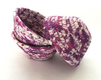 Purple and White Bowl - Itty Bitty // Handmade Coiled Fabric Basket Tiny Ring Dish Great for Kids Ultra Violet