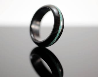 Blackwood and turquoise wooden ring