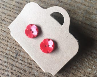 Vintage, red, flower, button earrings. Perfect for birthday, anniversary, quirky, cute.