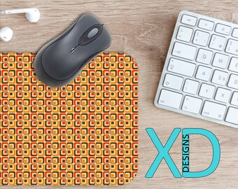Retro Mouse Pad, Retro Mousepad, Square Rectangle Mouse Pad, Orange, Square Circle Mouse Pad, Retro Mat, Computer, Cubed, Boxes, Hippie