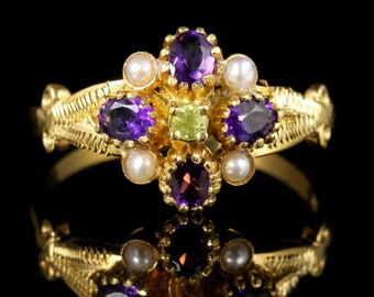 Suffragette Cluster Ring Peridot Amethyst Pearl 18ct Gold Silver