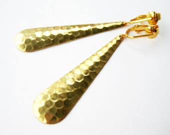 Hammered Teardrop Clipon Earrings, Long Brass Drop Clip On Earrings, Gold Ear Clips, Simple Dangle Clip Earrings, Modern Metallic, Etta
